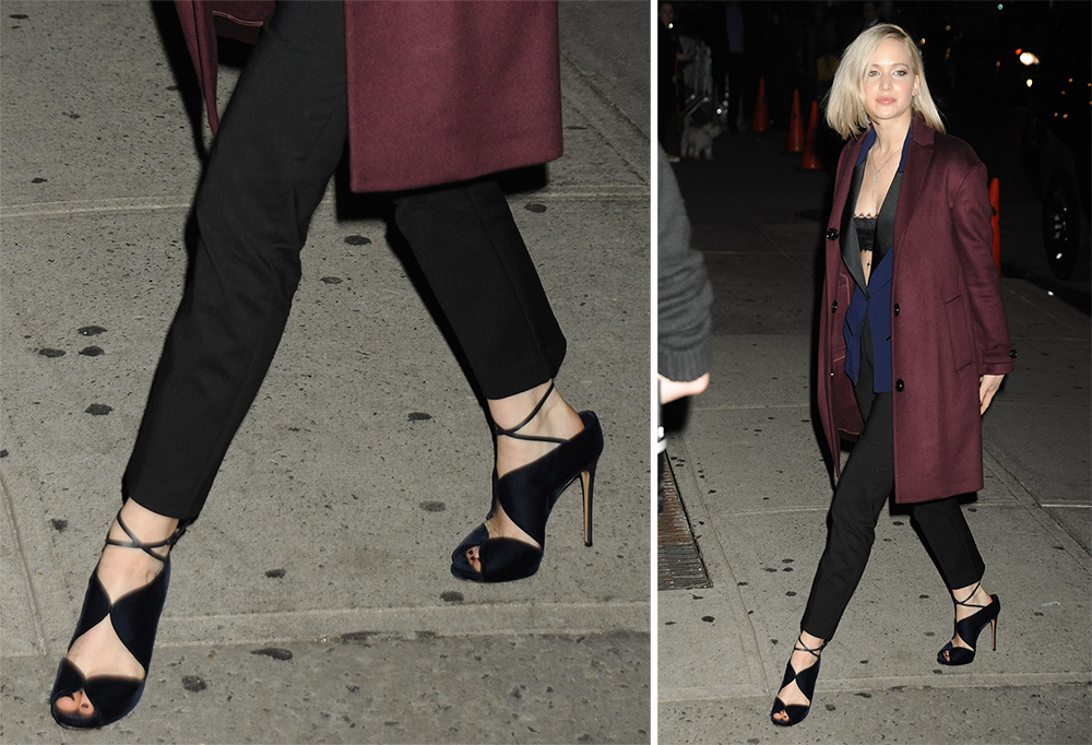 Jennifer-Lawrence-Casadei-Velvet-Criss-Cross-Sandals