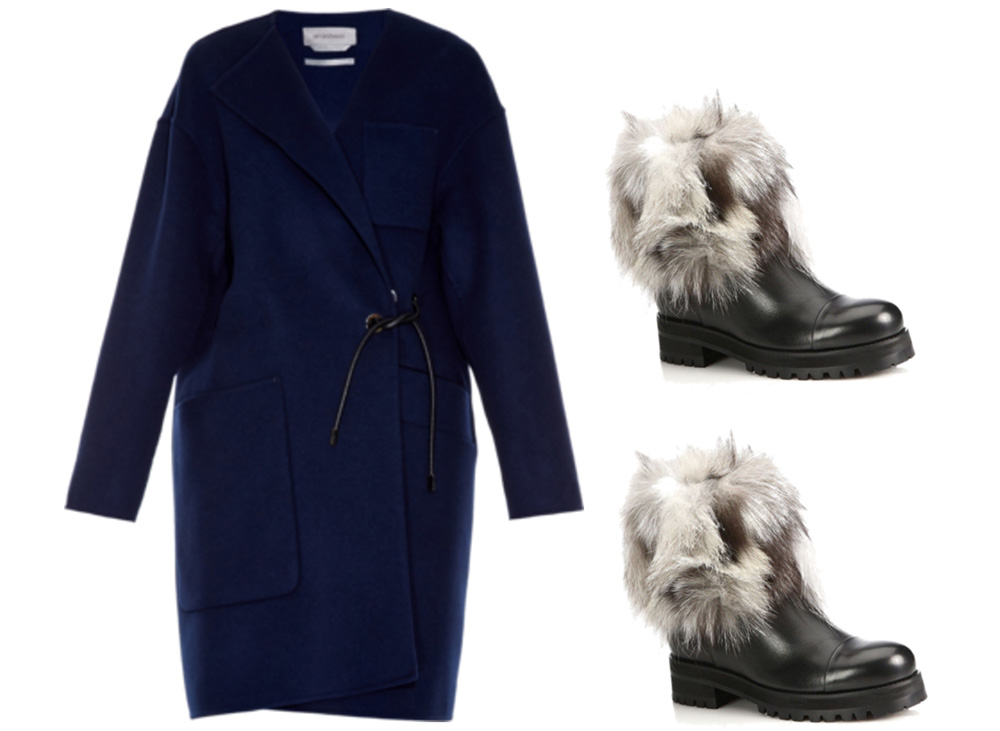 SPORTMAX Batun Coat, $1,950 via MATCHESFASHION.COM  Jimmy Choo Dana Leather & Fox Fur Booties, $1,450 via Saks