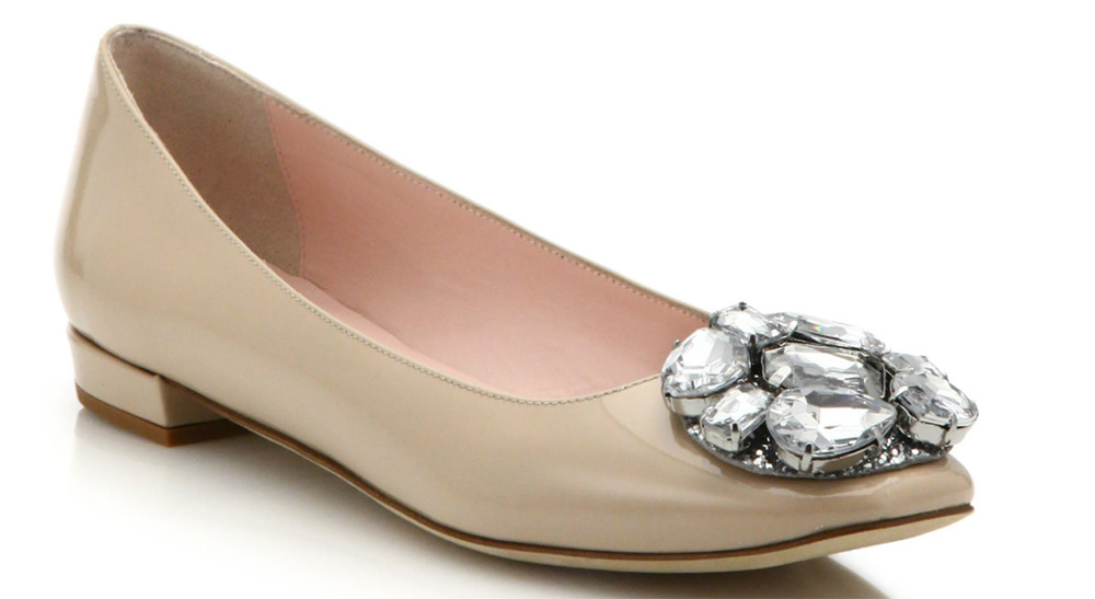 Kate Spade ena Patent Leather Jewel Cluster Ballet Flats