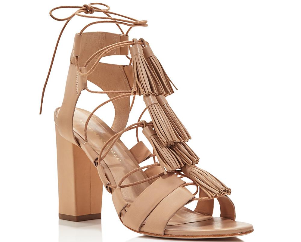 Loeffler Randall Luz Tasseled Lace Up High Heel Sandals
