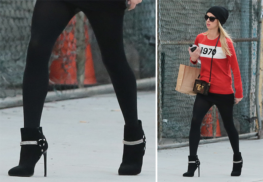 Nicky-Hilton-Saint-Laurent-Chain-Link-Ankle-Boots