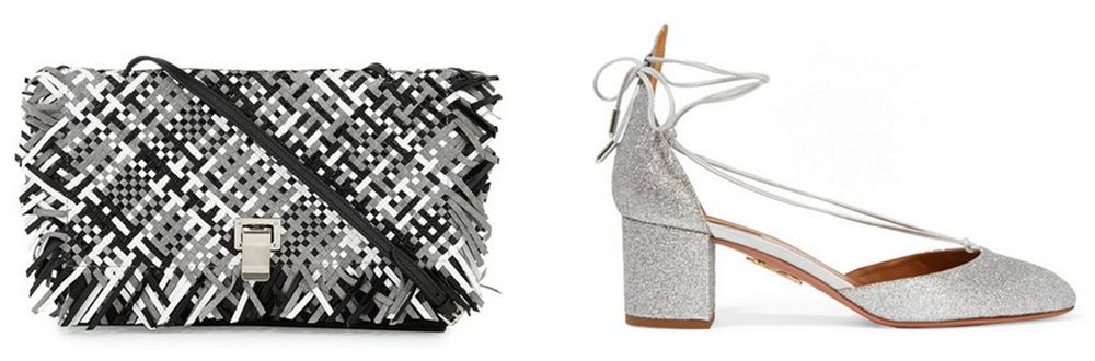 Proenza Schouler  Small Woven Lunch Bag-on-a-Strap, $939 via Bergdrof Goodman  Aquazzura Alexa Glittered Leather Pumps, $675 via Net-a-Porter