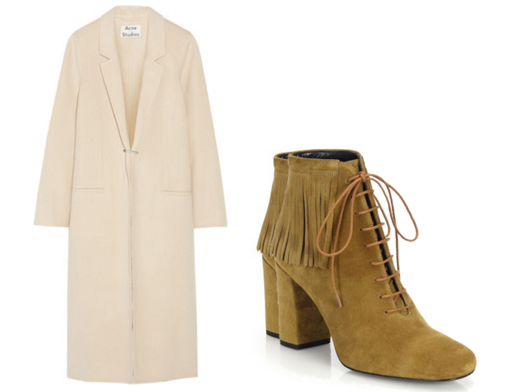 Acne Studios Foin Doublé Wool and Cashmere-Blend Coat, $870 via Net-a-Porter Saint Laurent Babies Fringed Suede Lace-Up Booties, $995 via Saks