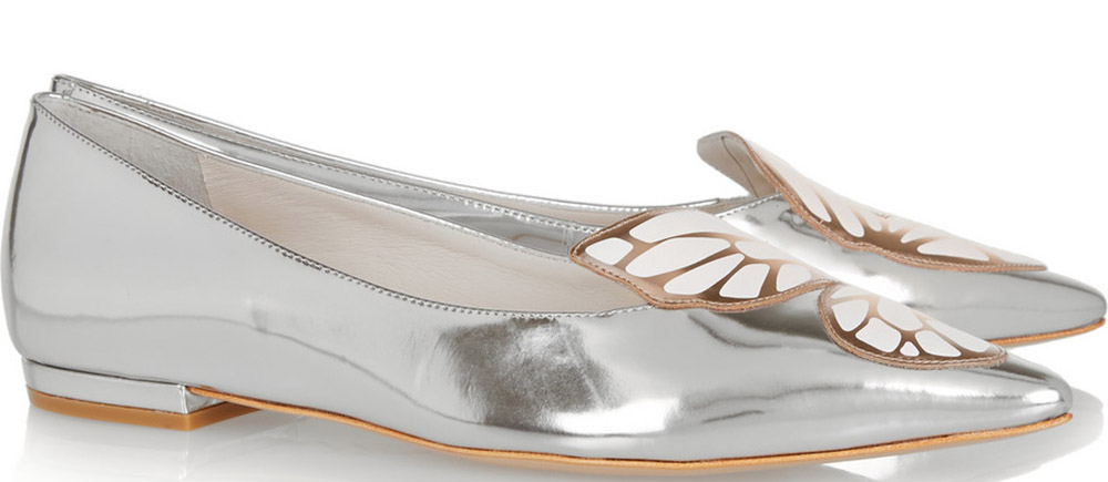 Sophia Webster Bibi Butterfly Metallic Patent-Leather Point-Toe Flats