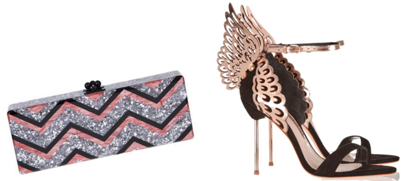 Edie Parker Flavia Glittered Chevron Acrylic Clutch, $1,595 via Saks  Sophia Webster Evangeline Suede and Laser-Cut Metallic Leather Sandals, $560 via Net-a-Porter