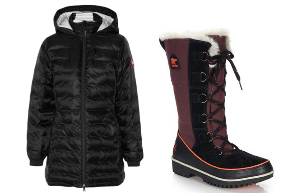 Canada Goose Camp Hooded Quilted Down Coat, $575 via Net-a-Porter  Sorel Tivoli High Faux Fur-Trimmed Canvas & Suede Boots, $150 via Saks