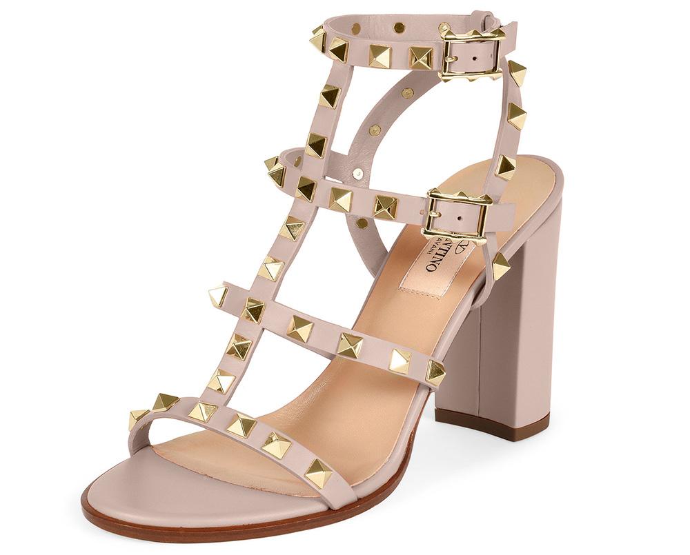 Valentino Rockstud Leather Block-Heel Sandal