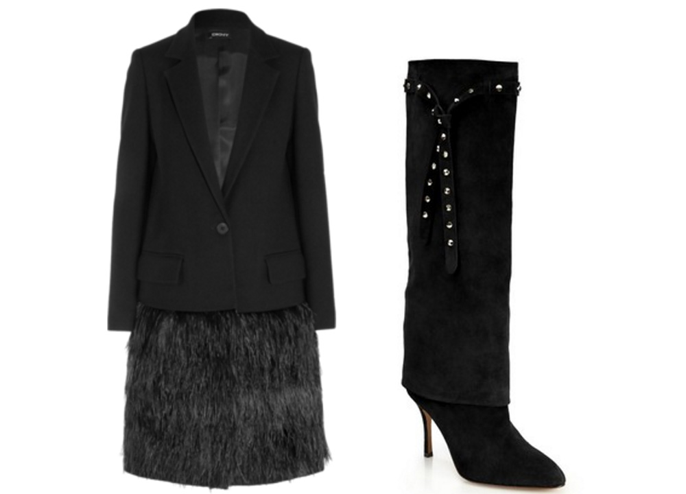 DKNY Feather-Embellished Wool-Twill Coat, $1,500 via Net-a-Porter  Valentino Studded-Ties Suede Knee Boots, $1,502 via Saks
