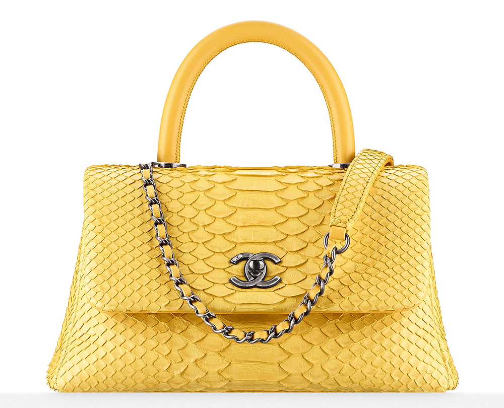 Chanel-Python-Top-Handle-Flap-Bag-Yellow