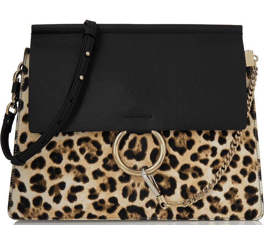 Chloe Faye Medium Leopard-Print Calf Hair and Leather Shoulder Bag