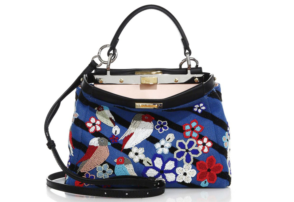 Fendi Peekaboo Mini Beaded Denim Satchel