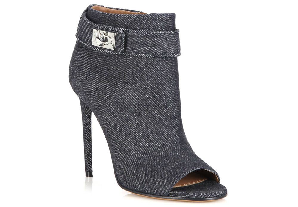 Givenchy Shark Tooth Denim Peep-Toe Booties