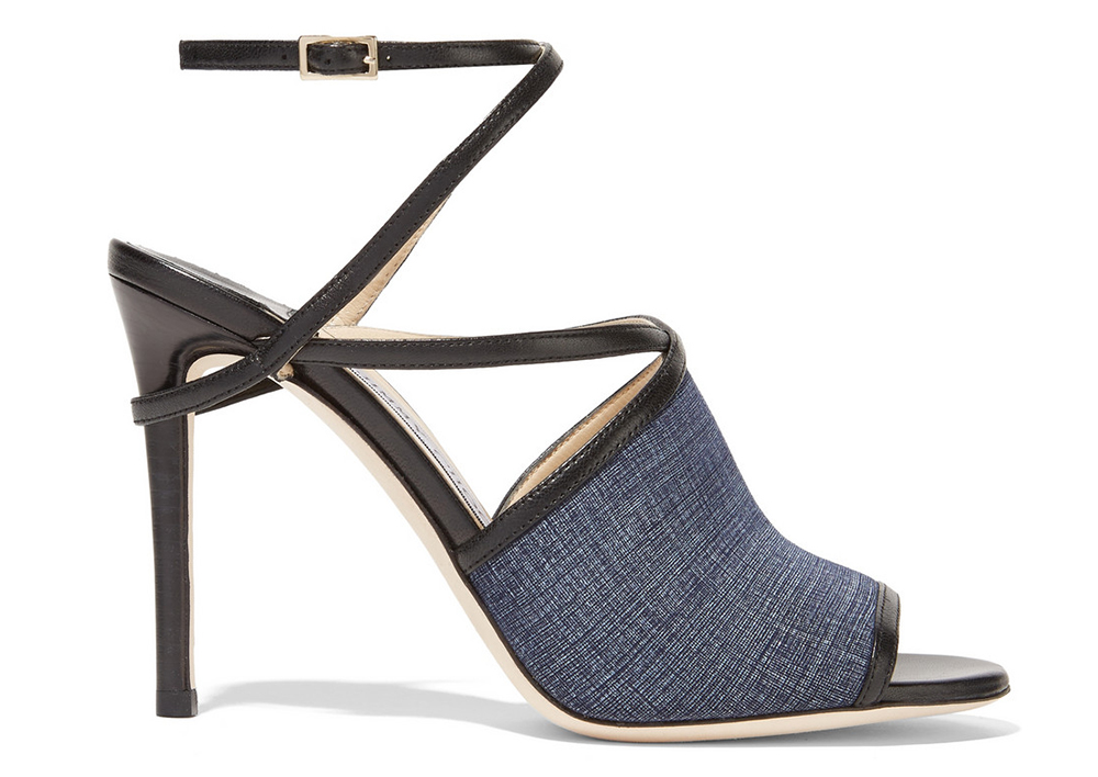 Jimmy Choo Flora Leather-Trimmed Denim Sandals