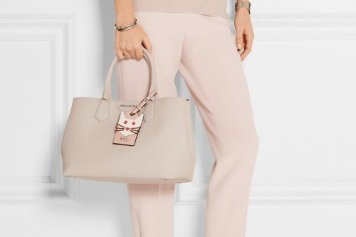 Karl Lagerfeld Textured Leather Tote Gray