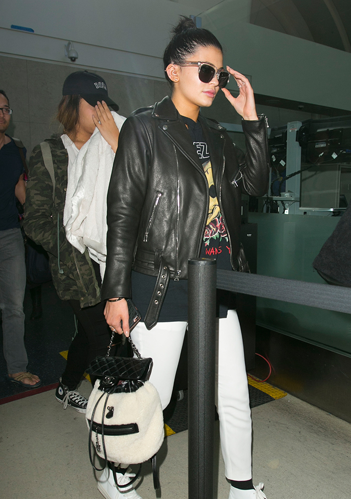 Kylie-Jenner-Chanel-Shearling-Backpack