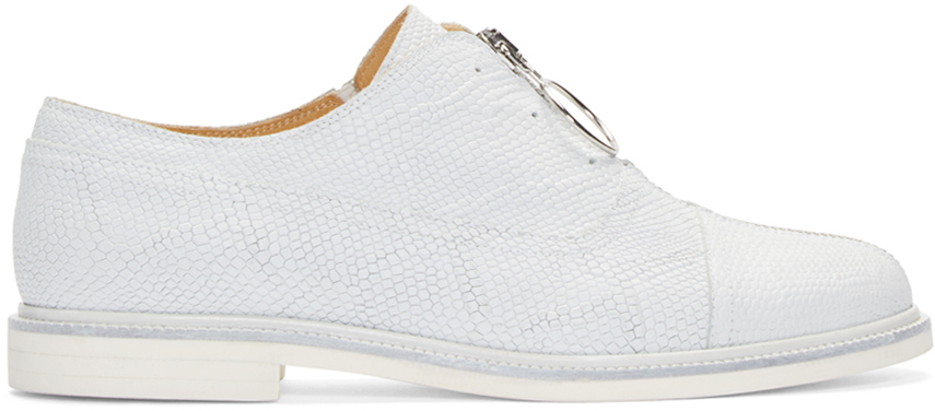 MM6 Maison Margiela White Leather Zip-Front Oxfords