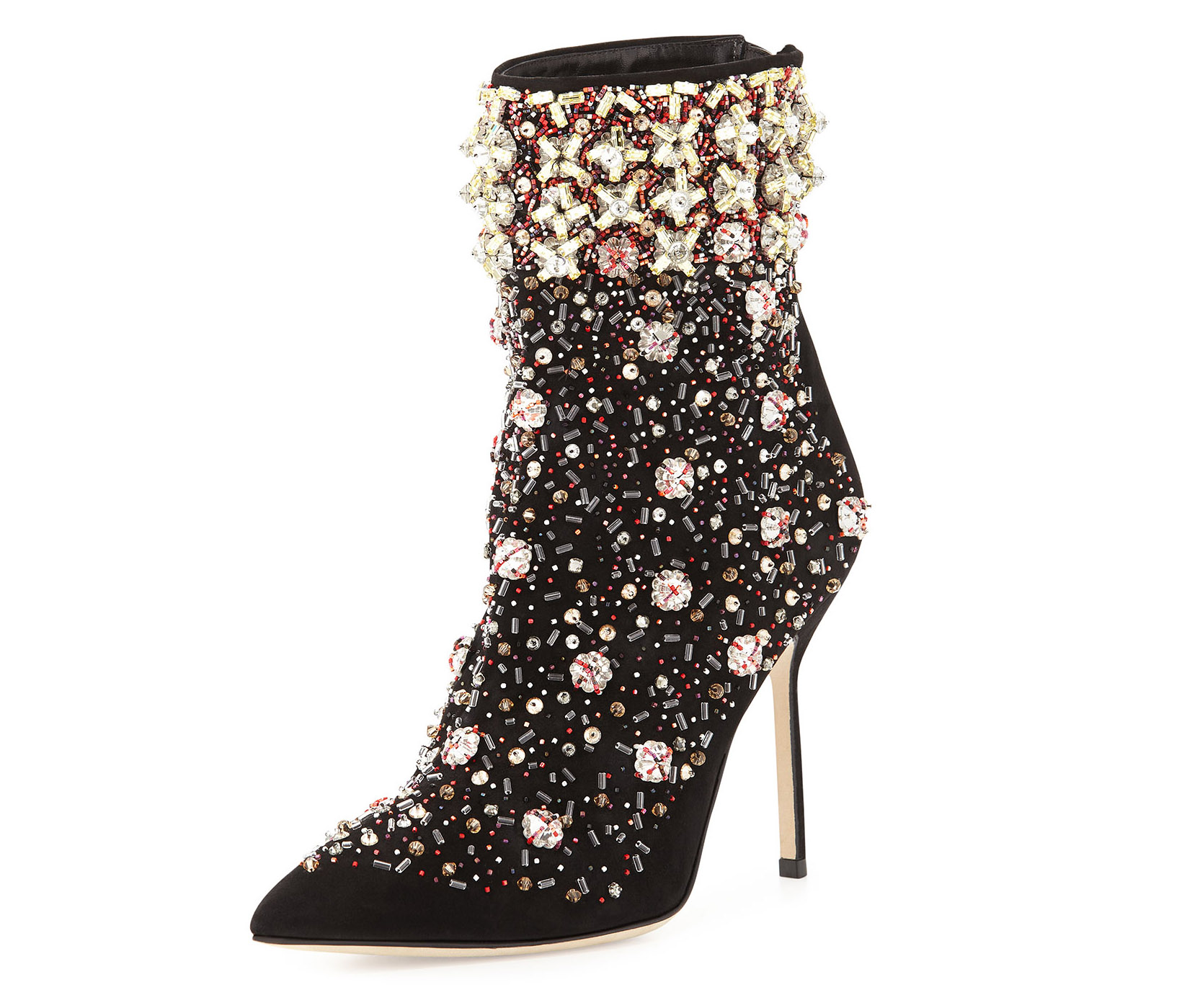 Manolo Blahnik Zarina Embroidered Suede Boot