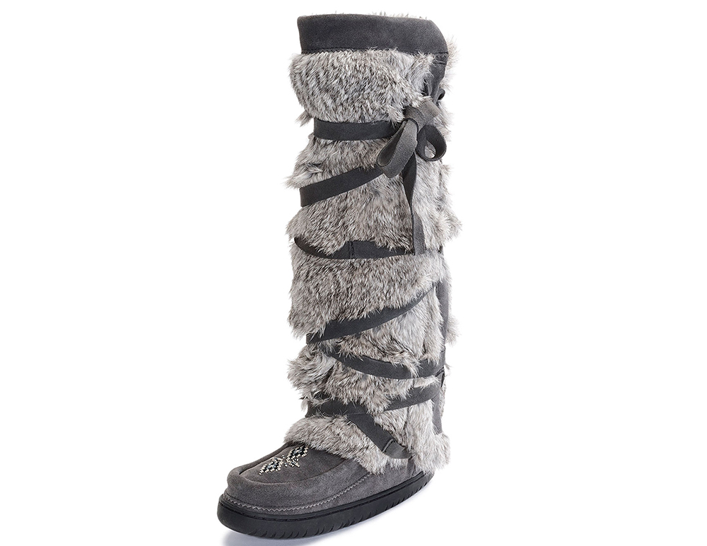 Mukluks Rabbit-Fur Tall Wrap Mukluk Boot