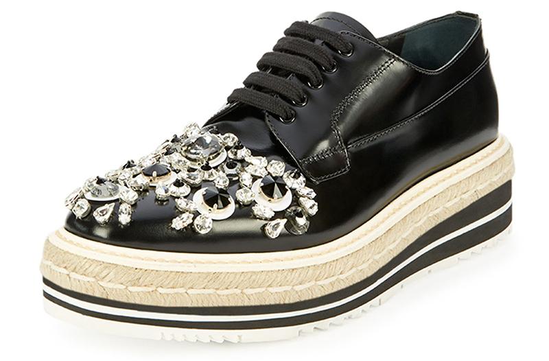 Prada Crystal-Embellished Espadrille Sneaker