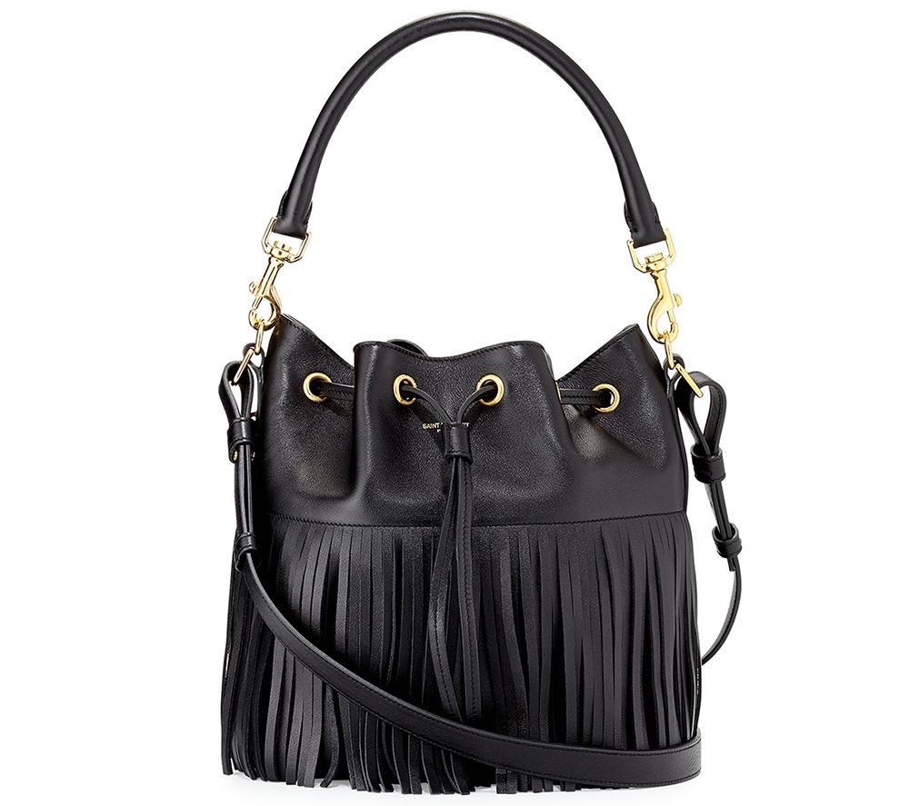 Saint Laurent Emmanuelle Medium Fringe Bucket Bag