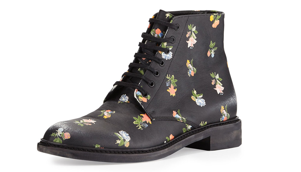 Saint Laurent Floral-Print Leather Grunge Boot