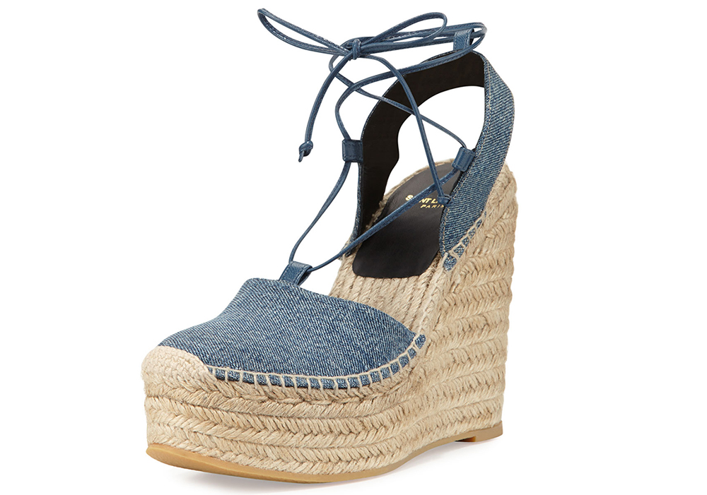 Saint Laurent Platform Denim Espadrille Wedge Sandal