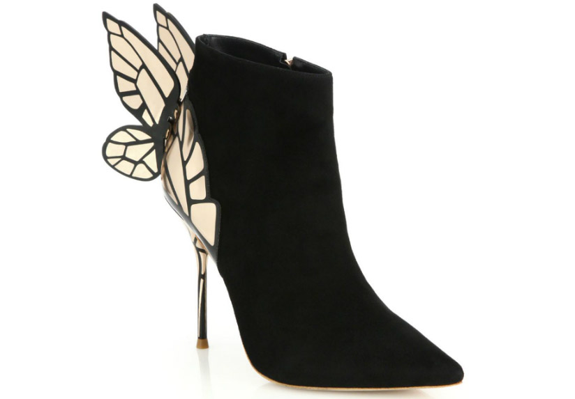 Sophia Webster Chiara Suede Metal-Stiletto Booties