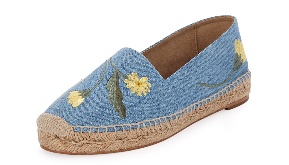 Stella McCartney Floral-Embroidered Denim Espadrille