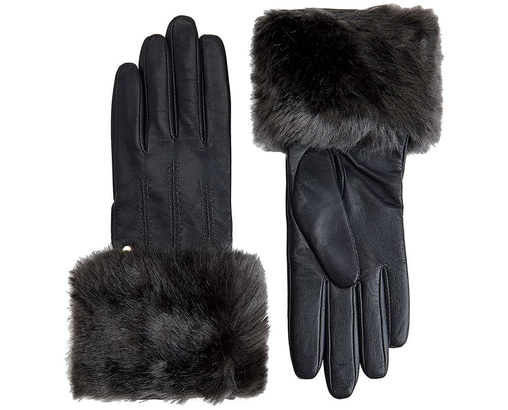 Ted Baker Jania Faux-Fur Leather Tech Gloves