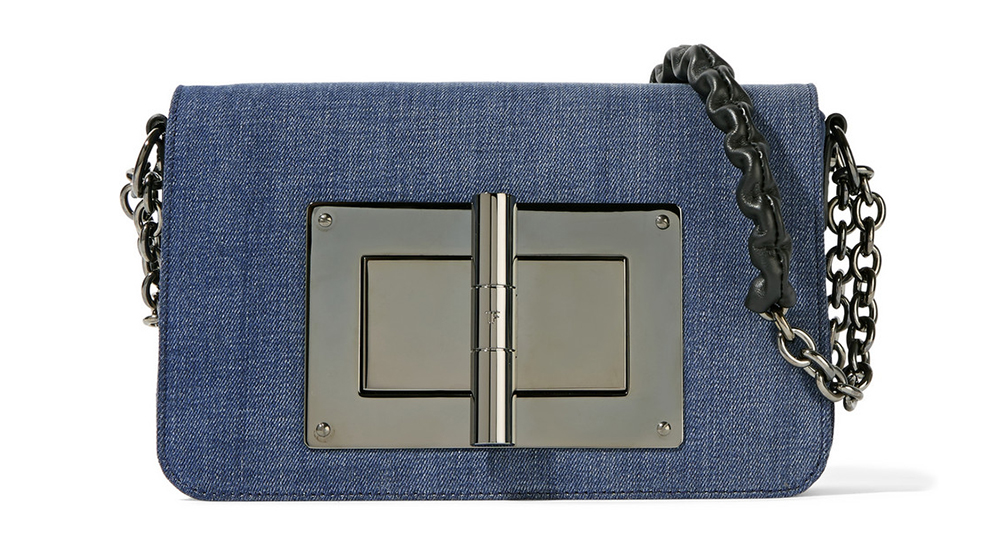 Tom Ford Natalia Leather-Trimmed Denim Shoulder Bag