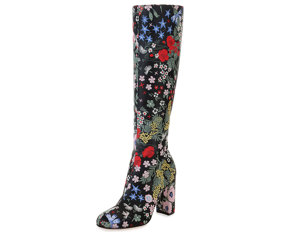 Valentino Garden-Print Leather Knee Boot