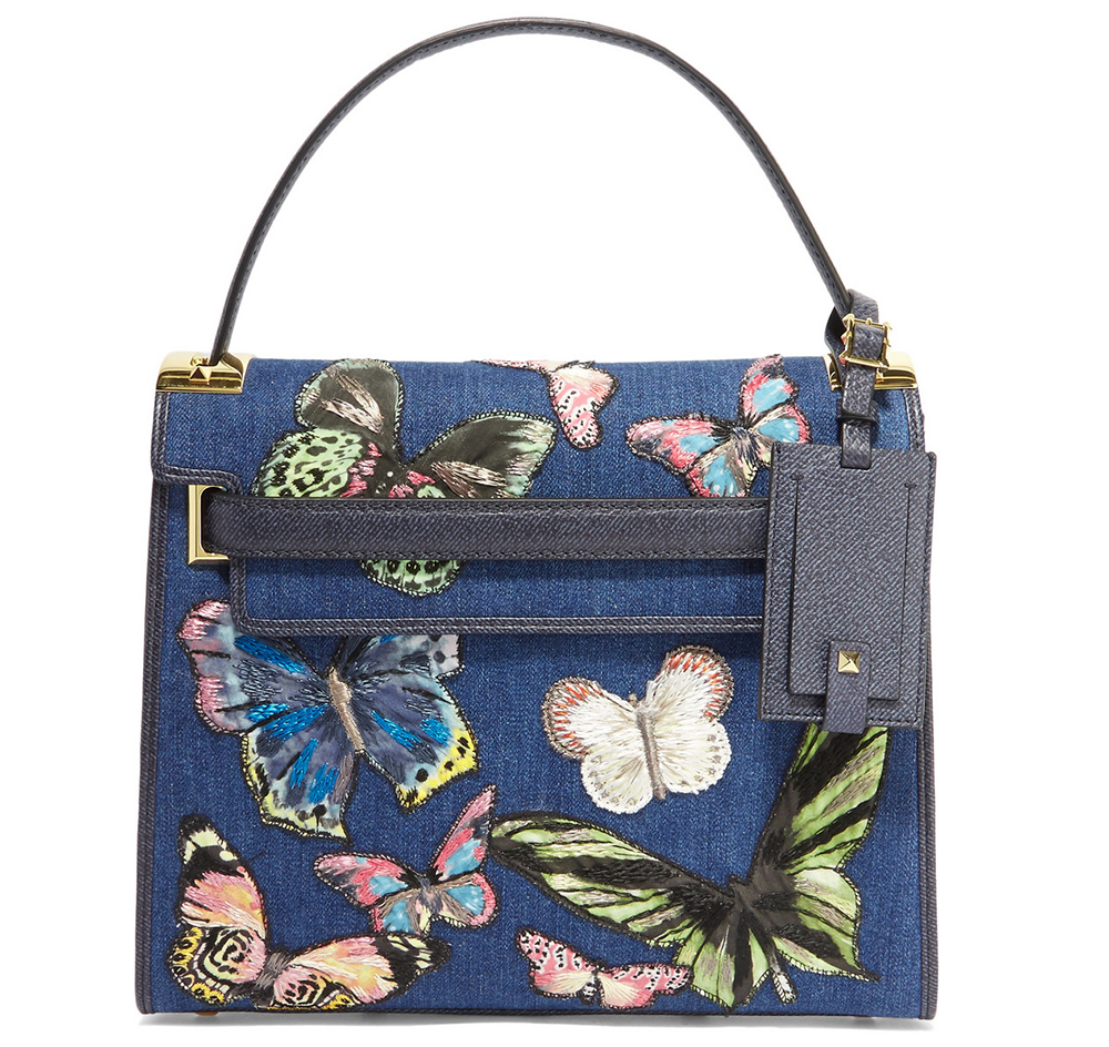 Valentino My Rockstud Embroidered Denim and Textured-Leather Tote