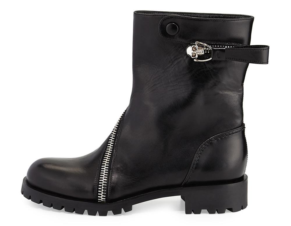 Alexander McQueen Skull Zip-Around Leather Mid-Calf Boot