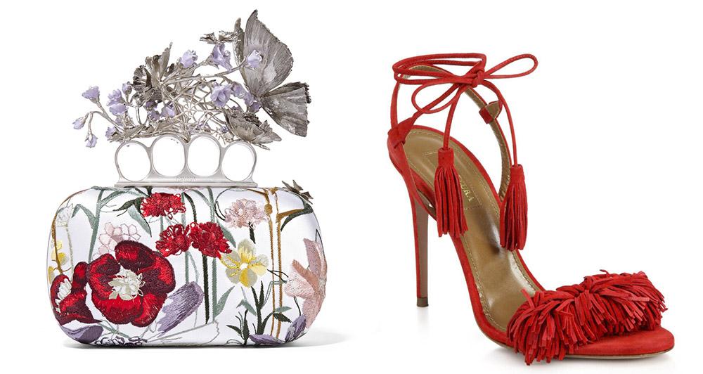 Alexander McQueen Flower-Embroidered Satin Knuckle Box Clutch [$3,895 via Saks] Aquazzura Wild Thing Fringe Suede Sandals [$785 via Saks]