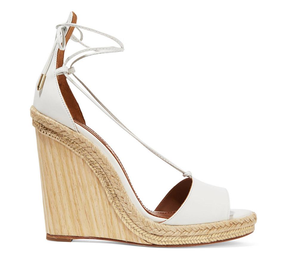 Aquazzura Alexa Raffia-Trimmed Leather Wedge Sandals