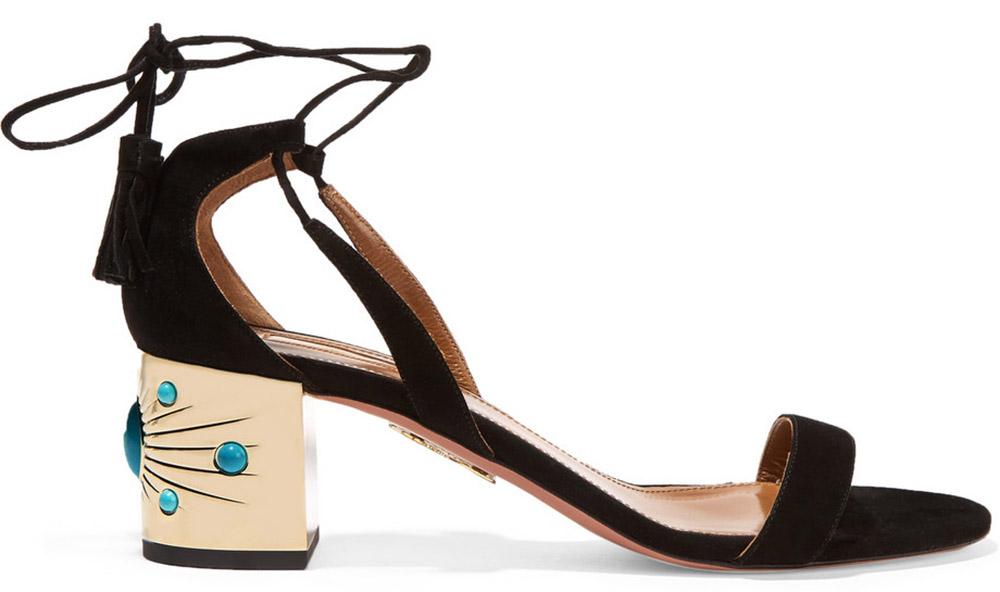 Aquazzura Cleopatra Embellished Suede Sandals
