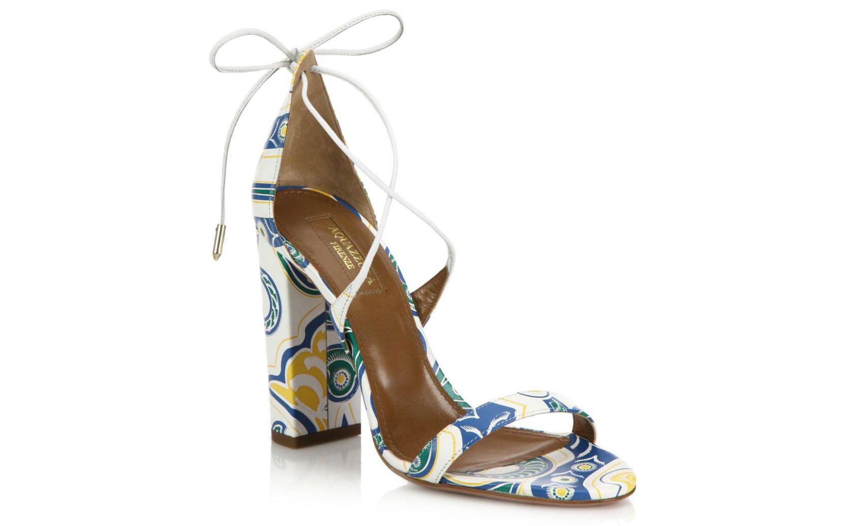 Aquazzura Lily Printed Leather Sandals