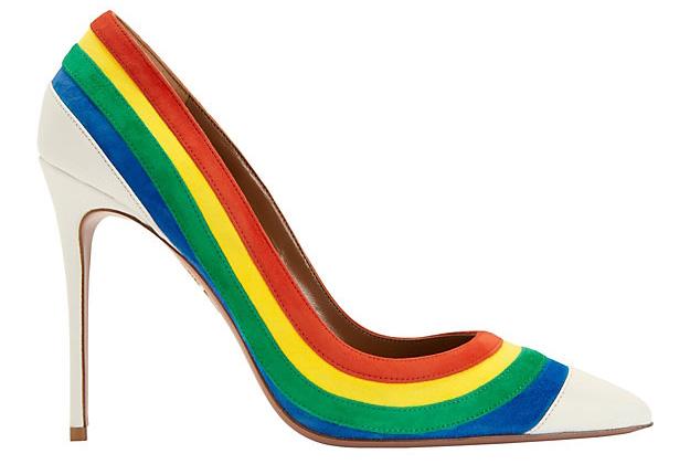 Aquazzura Rainbow Suede Pointy Toe Pump
