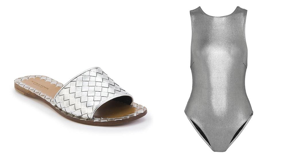 Bottega Veneta Intrecciato Metallic Leather Slide Sandals [$620 via Saks]  Prism Samar Metallic Swimsuit [$270 via Net-a-Porter]