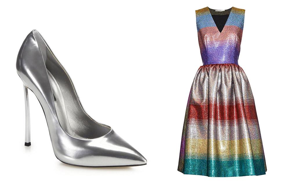 Casadei Blade Metal-Heeled Metallic Pumps [$750 via Saks] Marco de Vincenzo Metallic Striped V-neck Dress [$1,005 via MATCHESFASHION.COM]