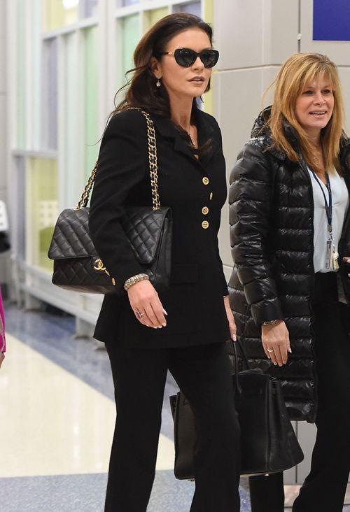 Catherine Zeta Jones Chanel Classic Flap Bag Hermes Birkin