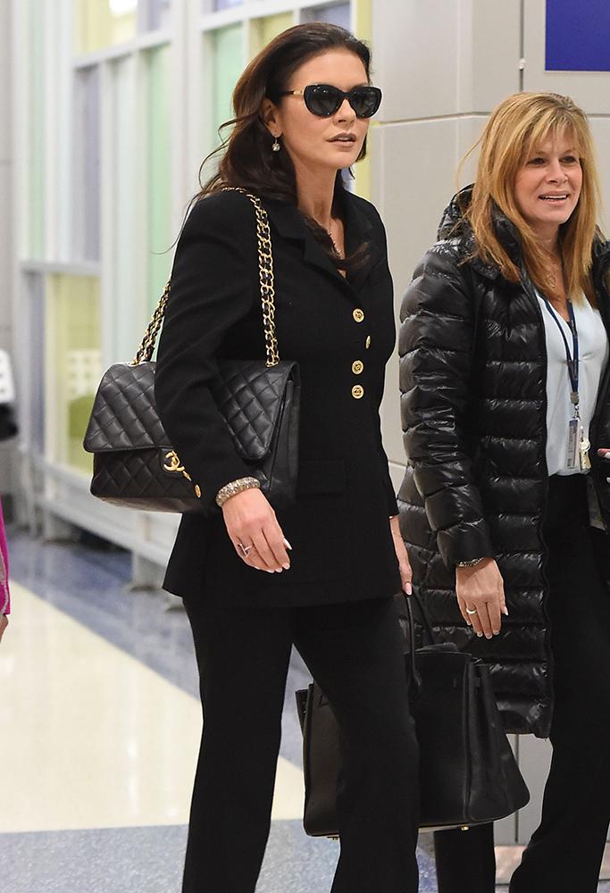 Catherine-Zeta-Jones-Chanel-Classic-Flap-Bag-Hermes-Birkin