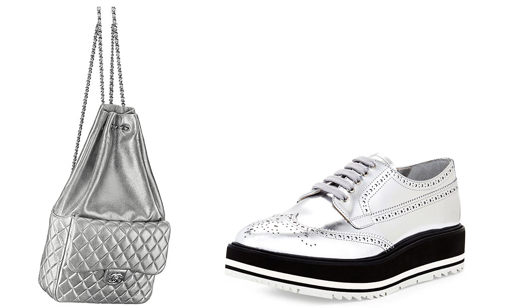 Chanel Metallic Backpack [$3,500 via Chanel] Prada  Metallic Wing-Tip Platform Loafer [$950 via Bergdorf Goodman]