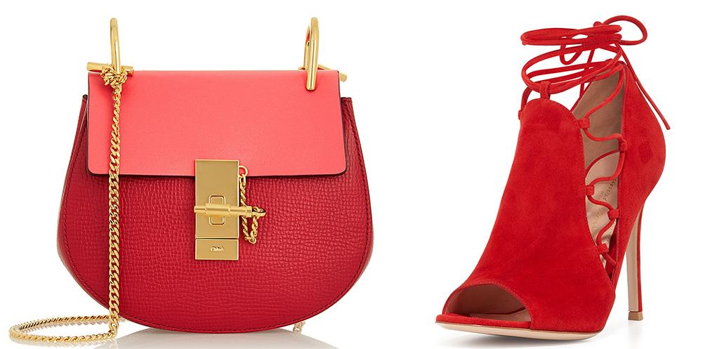 Chloé Drew Mini Textured-Leather Shoulder Bag [$1,850 via Net-a-Porter] Gianvito Rossi  Side Lace-Up Peep-Toe Bootie [$1,075 via Bergdorf Goodman]