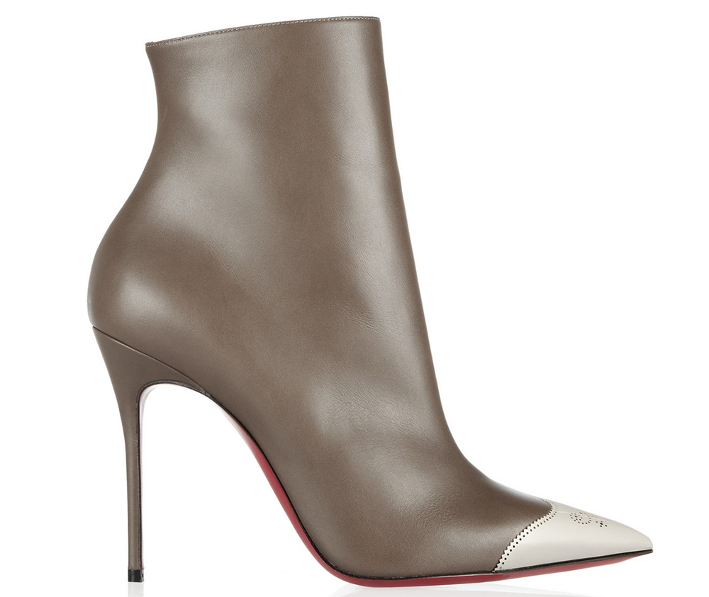 Christian Louboutin Calamijane 100mm Cap-Toe Leather Ankle Boots