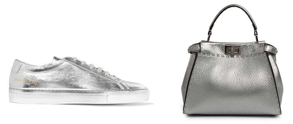 Common Projects Original Achilles Metallic Leather Sneakers [$505 via Net-a-Porter]  FendiSelleria Peekaboo Mini Metallic Leather Satchel [$3,700 via Saks]