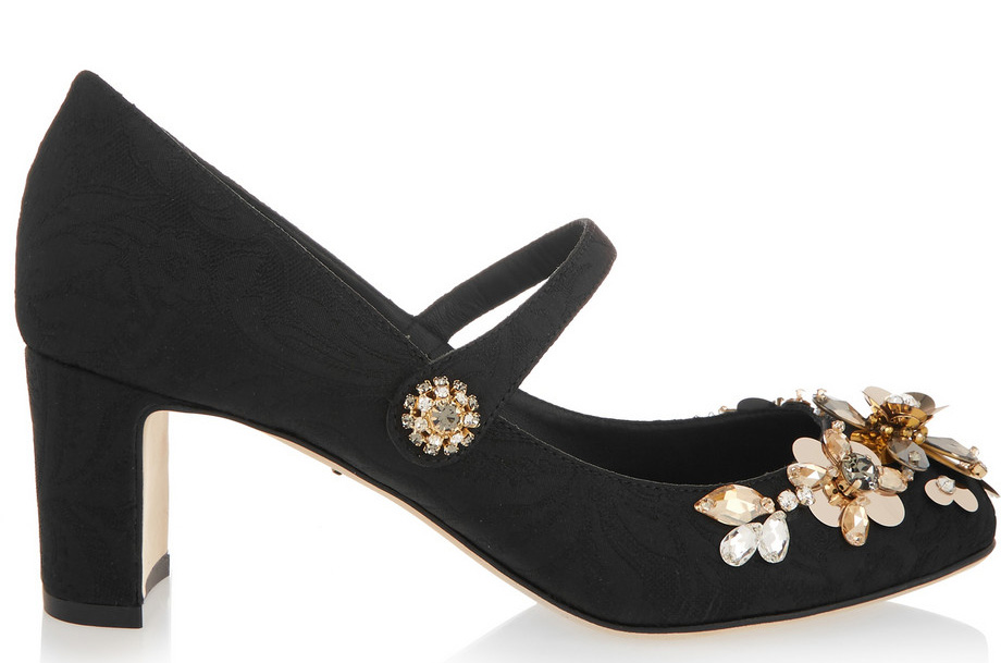 Dolce and Gabbana Embellished Brocade Mary Jane Pumps