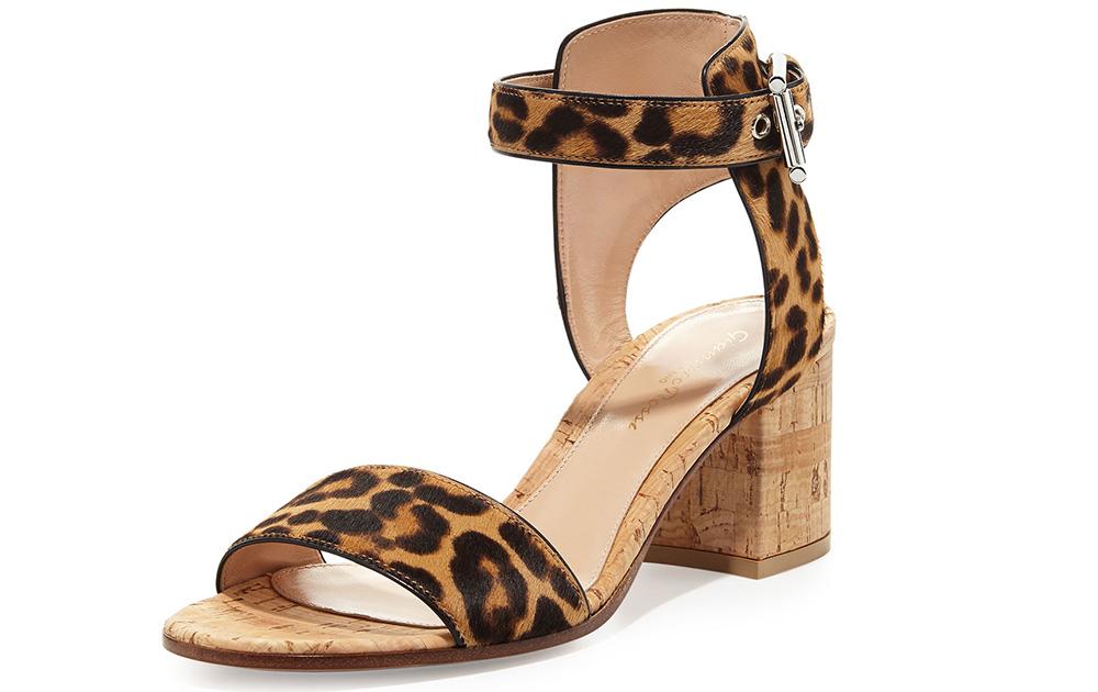Gianvito Rossi Leopard-Print Calf-Hair City Sandal