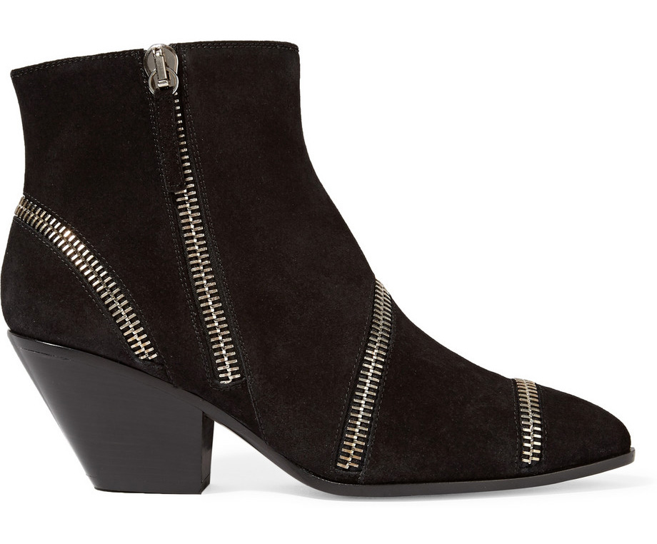 Giuseppe Zanotti Zip-Embellished Suede Ankle Boots