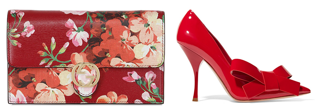 Gucci Blooms Printed Leather Shoulder Bag [$895 via LUISAVIAROMA]   Miu Miu Bow-Embellished Patent-Leather Pumps